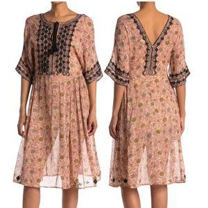 RAGA Ajmer Boho Embroidered Tassel Floral Dress XS NWT